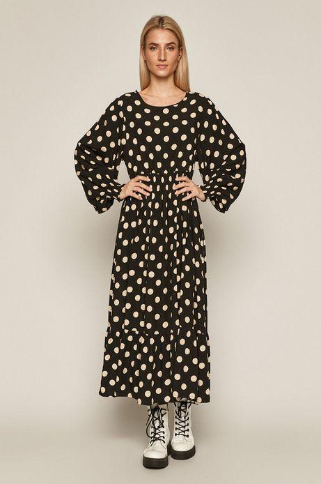 Sukienka damska w grochy czarna