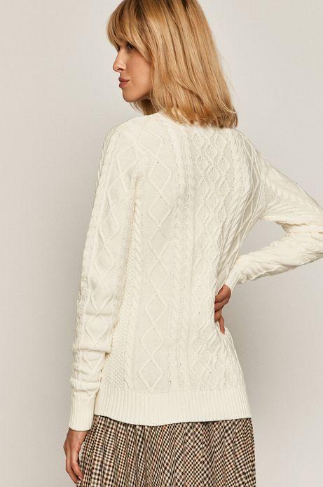 Sweter damski ze splotem kremowy