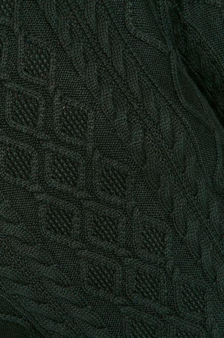 Sweter damski ze splotem zielony