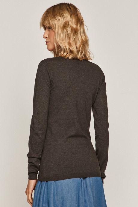 Sweter damski ze spiczastym dekoltem szary