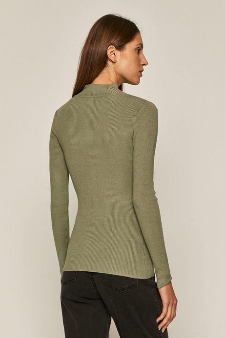 Sweter damski z półgolfem z gładkiej dzianiny zielony