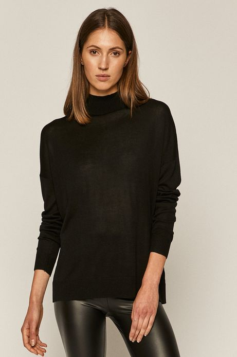 Sweter damski z półgolfem czarny