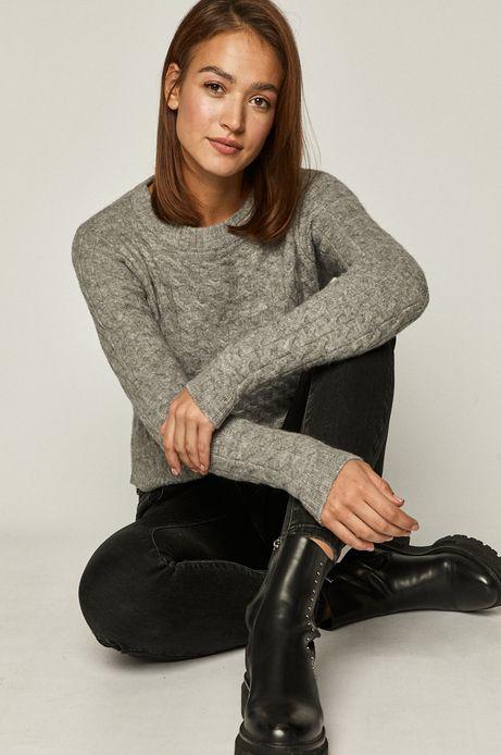 Sweter damski ze splotem szary