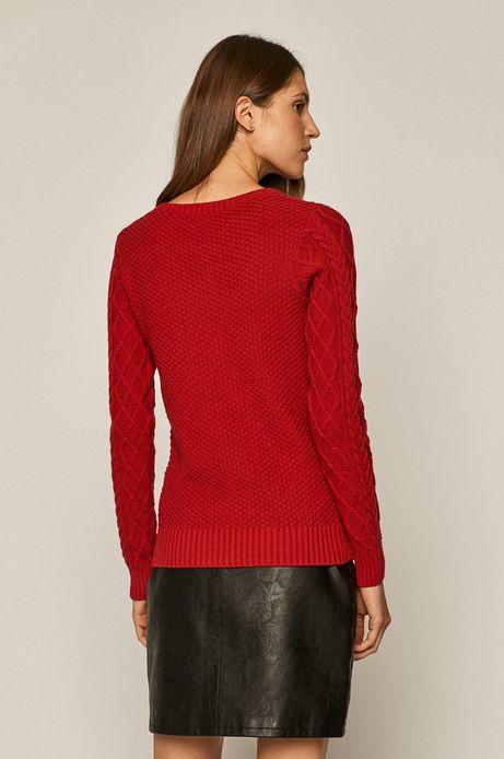 Sweter damski ze splotem czerwony