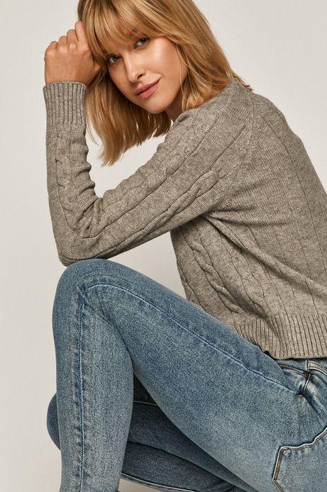 Sweter damski z warkoczowym splotem szary