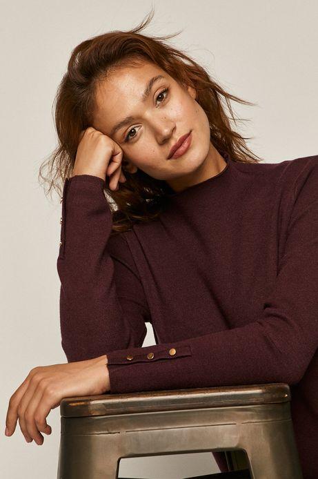 Sweter damski z półgolfem fioletowy