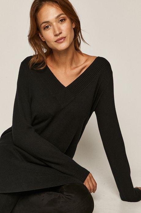 Sweter damski ze spiczastym dekoltem czarny