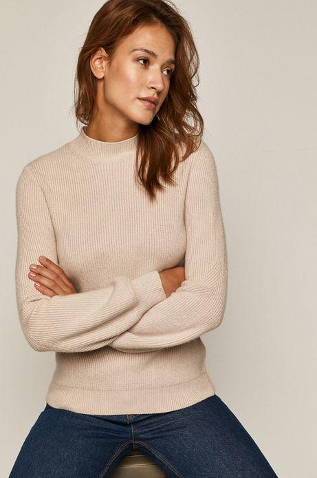 Sweter damski z półgolfem kremowy