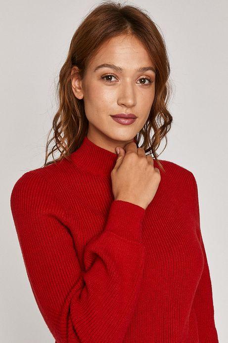Sweter damski z półgolfem czerwony