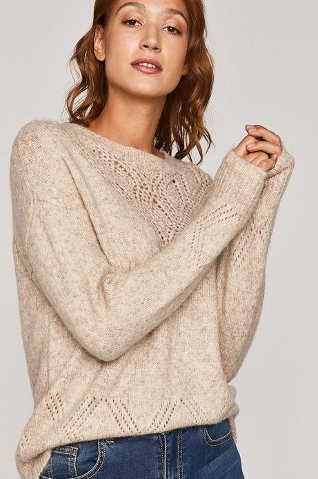 Sweter damski z ażurową wstawką beżowy