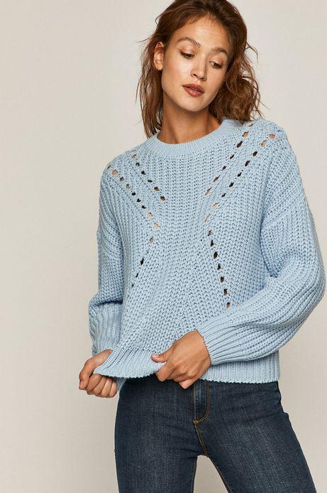 Sweter damski z obniżoną linią ramion niebieski