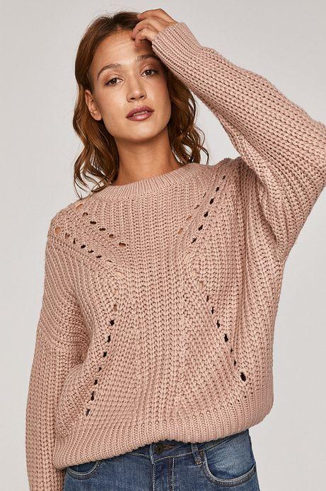 Sweter damski z obniżoną linią ramion różowy