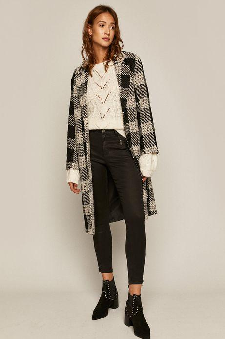 Sweter damski z domieszką wełny kremowy