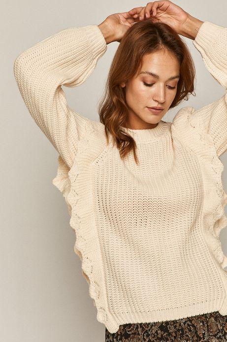 Sweter damski z falbanką kremowy