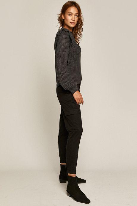 Sweter damski z falbanką szary
