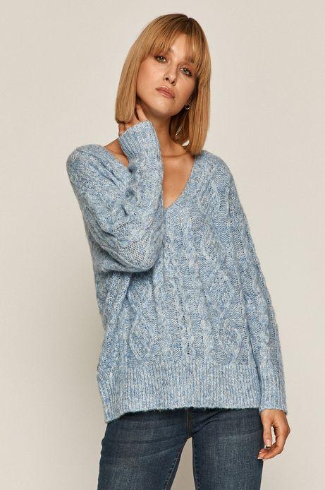 Sweter damski z recyklowanego poliestru niebieski