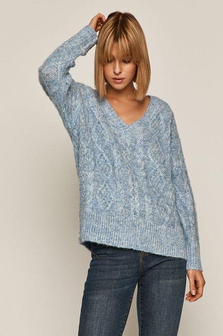 Sweter damski z recyklingowanym poliestrem niebieski