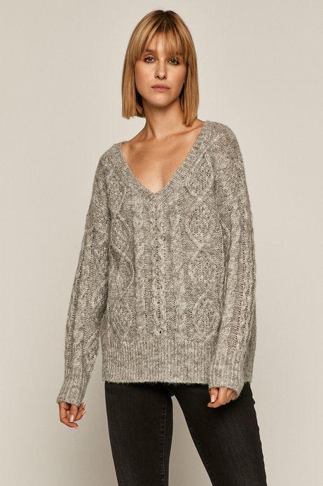 Sweter damski z recyklowanego poliestru szary