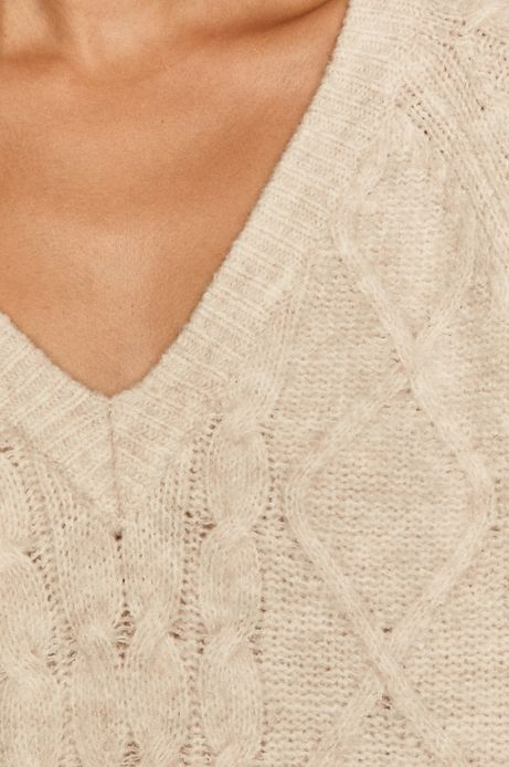 Sweter damski z warkoczowym splotem beżowy