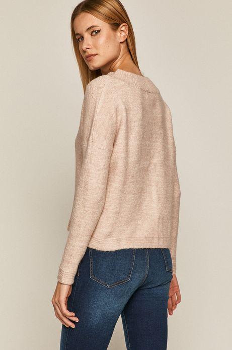 Sweter damski ze spiczastym dekoltem różowy