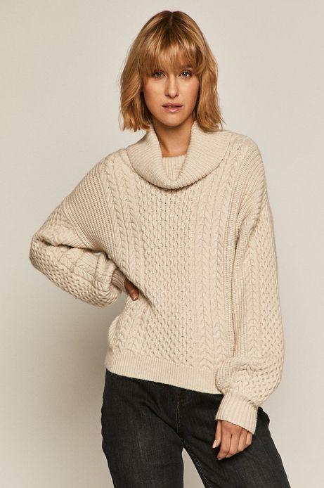 Sweter damski z golfem beżowy