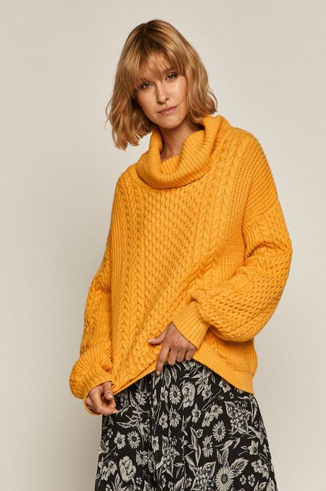 Sweter damski z golfem żółty