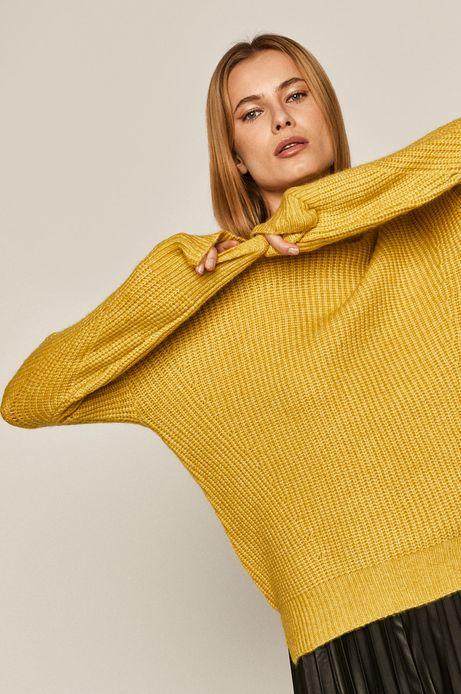Sweter damski z recyklowanym poliestrem żółty