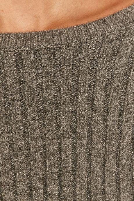 Sweter damski z prążkowanej dzianiny szary
