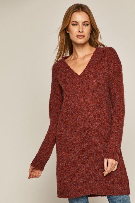 Sweter damski z recyklowanego poliestru czerwony