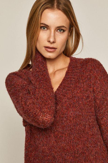 Sweter damski z recyklingowanym poliestrem czerwony