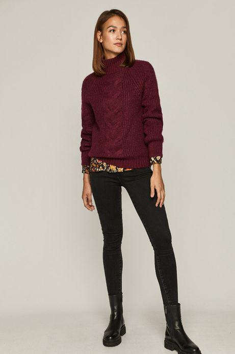 Sweter damski z warkoczowym splotem fioletowy