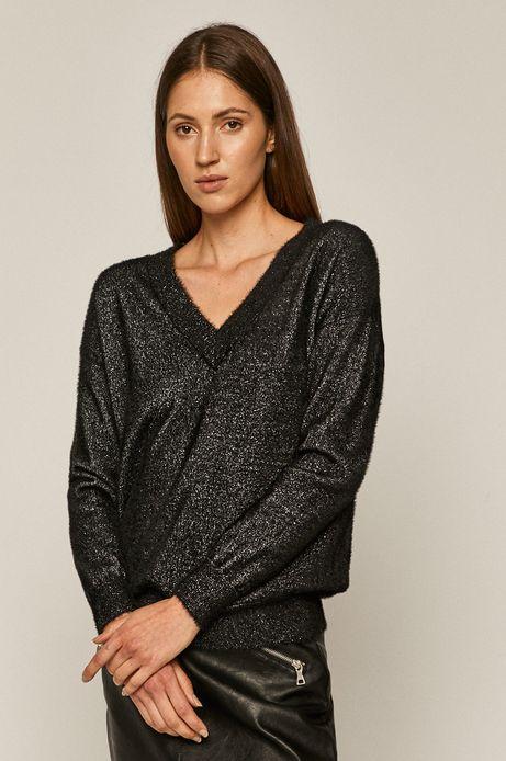 Sweter damski z metaliczną nitką czarny