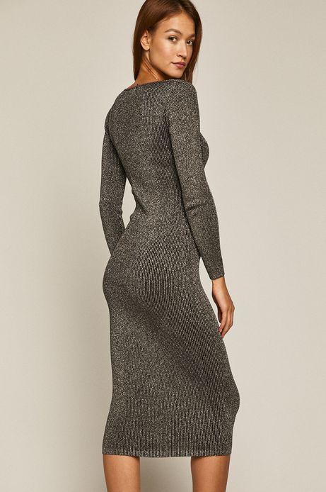 Sukienka damska z metaliczną nitką czarna