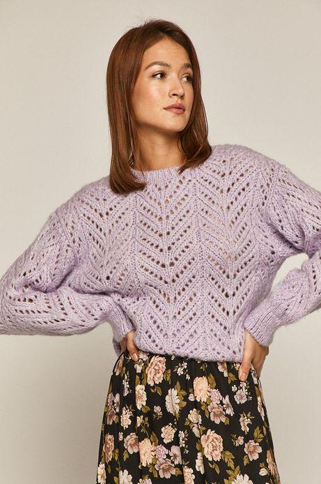 Sweter damski z ażurowej dzianiny fioletowy