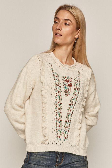 Sweter damski z aplikacją kremowy