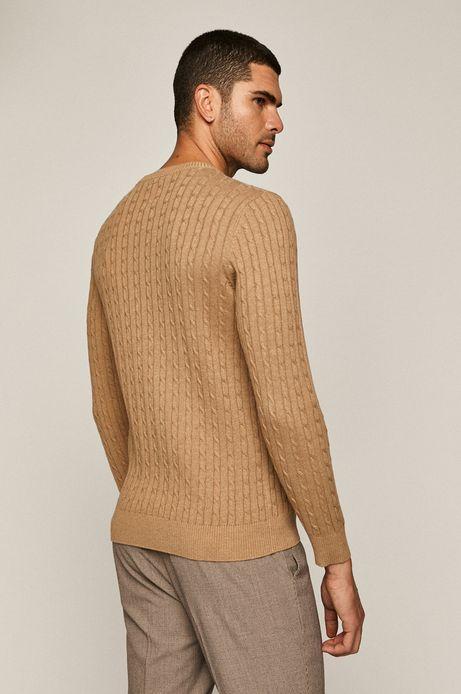 Sweter męski ze splotem beżowy