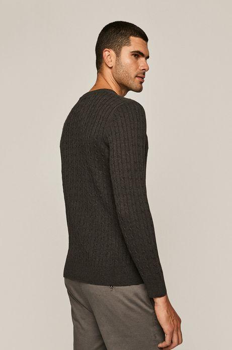 Sweter męski ze splotem szary