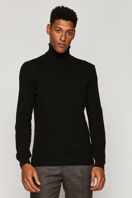Sweter męski z golfem z bawełny organicznej czarny