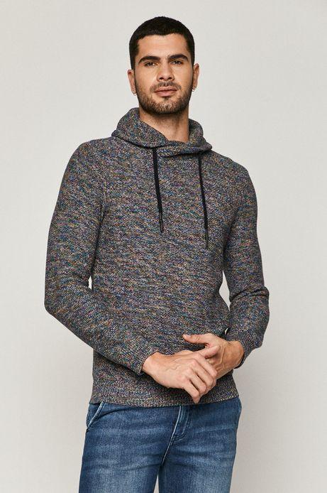 Sweter męski bawełniany z melanżowej dzianiny granatowy