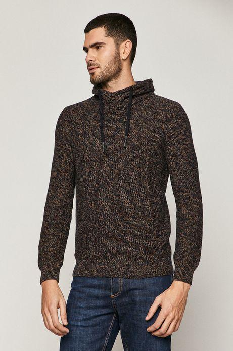 Sweter męski bawełniany z melanżowej dzianiny bordowy