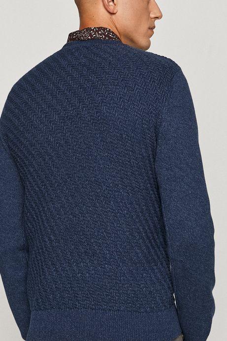 Bawełniany sweter męski z ozdobnym splotem granatowy