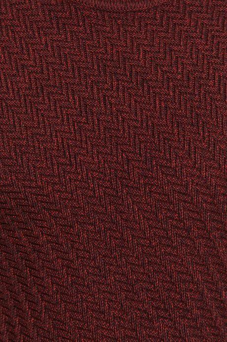 Bawełniany sweter męski z ozdobnym splotem bordowy