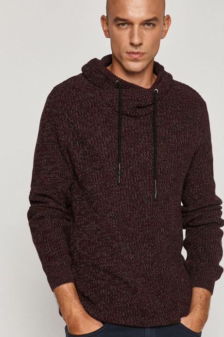 Sweter męski z kapturem bordowy