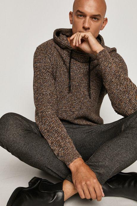 Sweter męski z kapturem brązowy