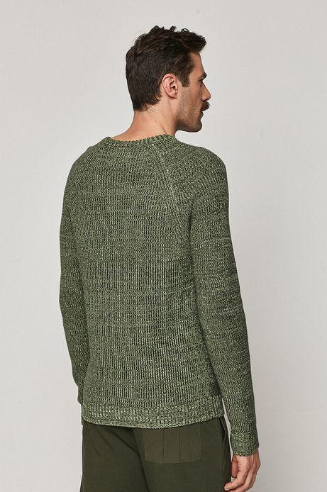 Sweter męski z melanżowej dzianiny zielony