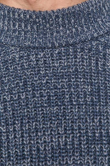 Sweter męski z melanżowej dzianiny niebieski