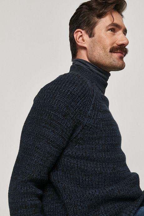 Sweter męski z melanżowej dzianiny granatowy