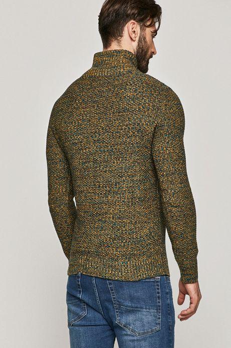 Sweter męski z podwyższonym kołnierzem turkusowy