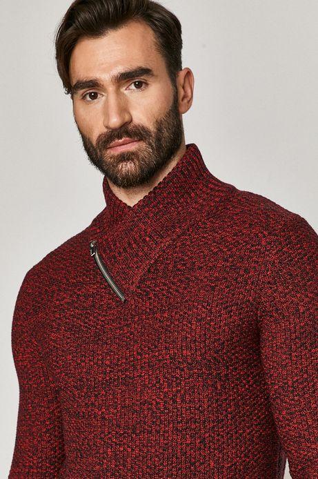 Sweter męski z podwyższonym kołnierzem bordowy
