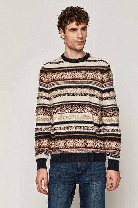 Sweter męski wełniany wzorzysty